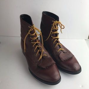 Ariat Mens Leather Rust Combat Lace Up Boots 9.5B